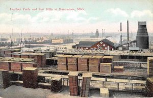 Menominee Michigan Lumber Yard and Saw Mills Logging Vintage Postcard JI658604