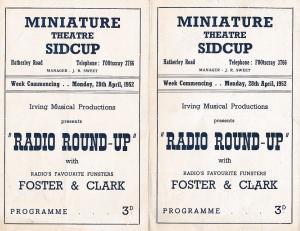 Sidcup Bexley Miniature Musical Radio Theatre 3x 1950s Theatre Programme s