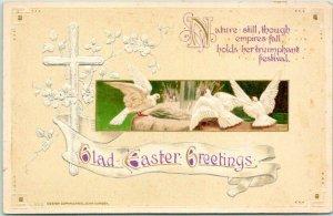 1910s Glad EASTER Greetings Embossed Postcard White Doves / Cross Unused