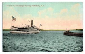 1915 Steamer Ticonderoga leaving Plattsburg, NY Postcard