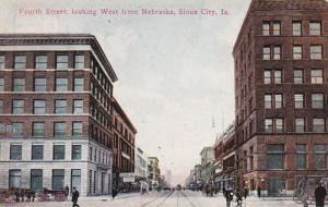 Iowa Sioux City Fourth Street Looking West From Nebraska