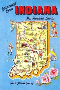 Postcard Map 1987, Indiana, The Hoosier State, USA United States #I