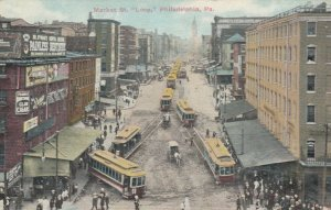 PHILADELPHIA , Pennsylvania , 1900-10s ; Market Street at trolly car  Loop
