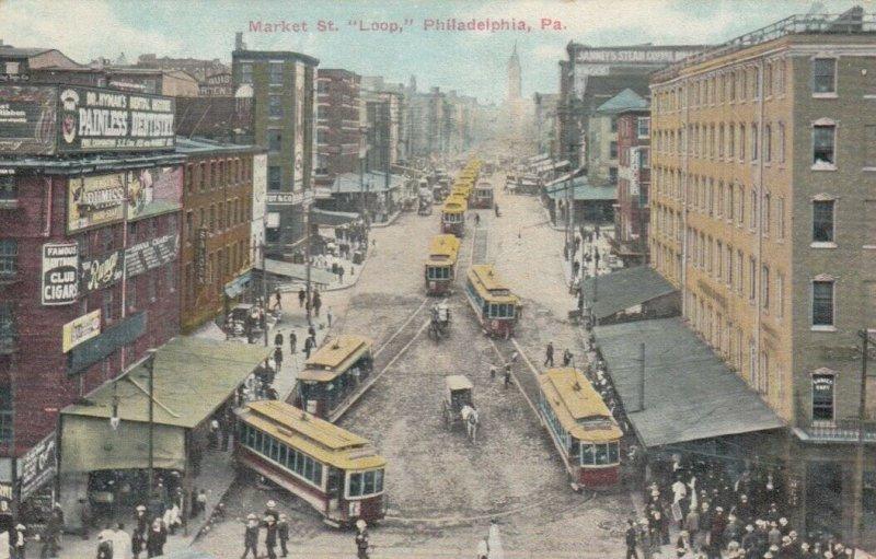 PHILADELPHIA , Pennsylvania , 1900-10s ; Market Street at trolly car  Loop