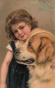 PFB 7686 ; Girl & Dog #4 , 1900-10s