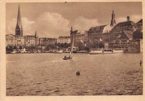 Hamburg Innen Alster mit Jungfernstieg Lake Boats General view