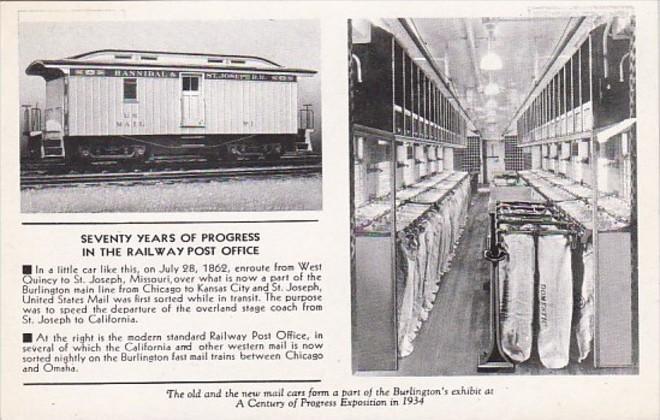 Seventy YEars Of Progress Railway Post Office  Century Of Progress Chicago