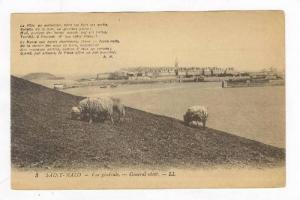 View of Sheep Grazing & Harbor w/ Poem,Saint Malo,France 1900-10s