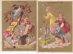 Pygmalion Grands Magasins de Nouveates - Two Trade Cards
