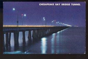 Virginia Beach, Virginia/VA Postcard, Chesapeake Bay Bridge-Tunnel At Night