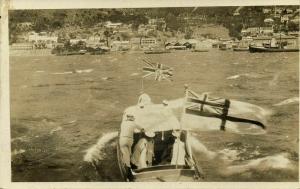 china, HONG KONG, Royal Navy Ship, White Ensign Flag approaching Coast (1920s)