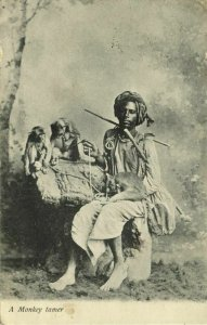 india, Native Juggler Juggling, Monkey Trainer (1908) Postcard
