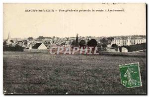 Magny en Vexin Old Postcard General view taken of the road d & # 39Archemont
