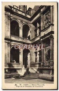 Old Postcard Caen hotel d & # 39ecoville headquarters of the Chamber of Commerce