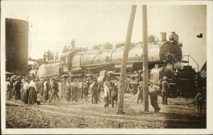 Skedee OK Message & Cancel AT&SF Largest RR Train in World c1910 RPPC