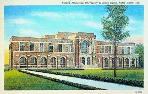 Knute Rockne Memorial University of Notre Dame Indiana Postcard 1945
