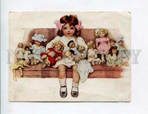 3105694 Girl w/ DOLLS by Bessie Pease GUTMANN vintage Russia PC