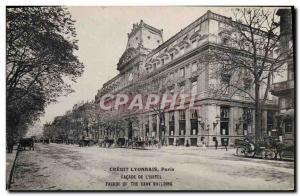 Old Postcard Bank Credit Lyonnais Paris Facade of & # 39Hotel