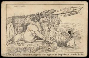 France Anti-German Patriotic Zeppelin Lion of Belfort PPC 77720