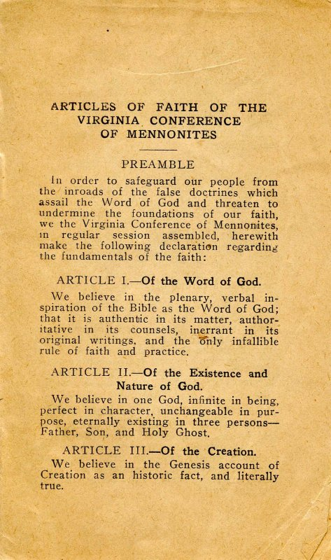 Pamphlet -  Articles of Faith of the Virginia Conference of Mennonites  (8pp)