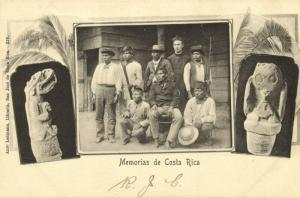 Costa Rica, C.A., Group of Native Indians, Sculptures 1899 Anto Lehmann Postcard
