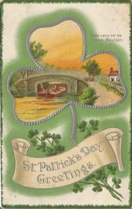Vintage Postcard decorated with a large Shamrock & Irish Scene St Patrick's Day