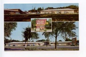 Salina KS Neon Sign Motel Old Cars Postcard