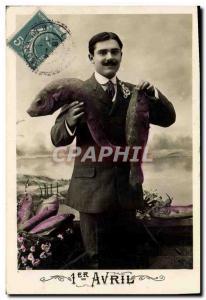 Old Postcard Fantasy Easter April 1st Pisces Male