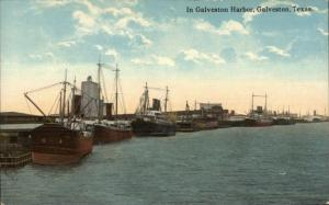 Galveston TX c1910 Postcard EXC COND Harbor Ships etc