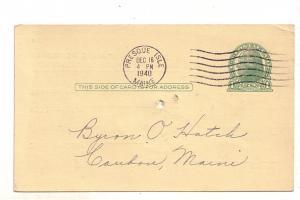 Postal Stationery Jefferson 1C  Byron Hatch, Chas Stetson, Presque Isle Maine...