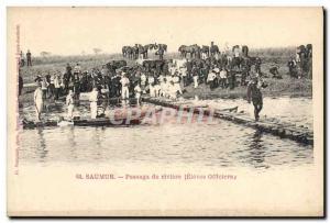 Old Postcard Horse Equestrian Saumur river Passage Pupils officers