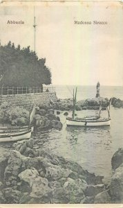 Postcard Croatia Abbazia Madonna Srocco sea boat sail fishing