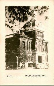 Vtg Postale Cppr 1940s Winchester Illinois Il Scott Comté Palais de Justice Unp