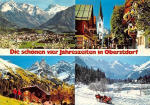 Oberstdorf Ort gegen Allgaeuer Alpen Kirchstrasse Einoedsbach Kirche Pferde