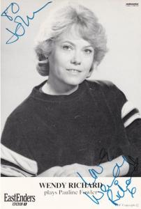 Wendy Richards Eastenders Vintage BBC Hand Signed Cast Card Photo