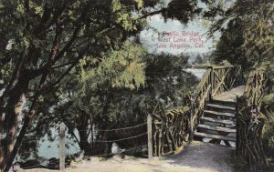 LOS ANGELES, California, 1900-1910s; Rustic Bridge, West Lake Park