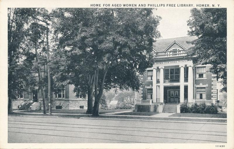 Homer NY, New York - Home for Aged Women - Phillips Free Library on left - WB