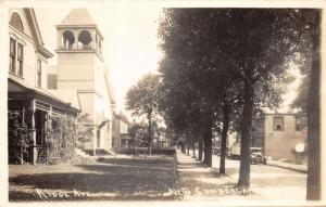 E90/ New Cumberland West Virginia RPPC Postcard c30s Ridge Ave Homes Church