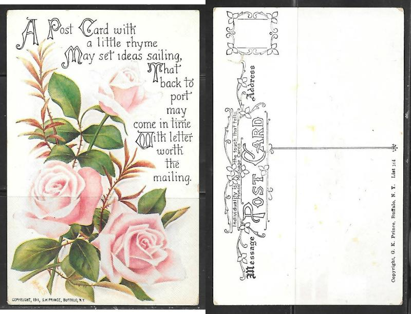 1911 Roses and a poem postcard