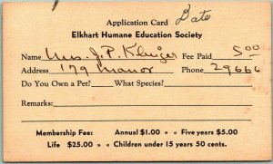 Vintage Indiana Business Postcard ELKHART HUMANE EDUCATION SOCIETY Dues Receipt