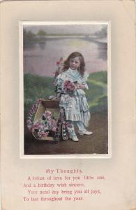 Little Girl holding bouquet of flowers, Cart, LAke, My Thoughts Poem, PU-1912