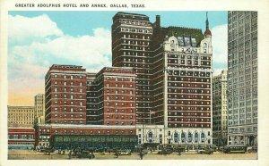 Adolphus Hotel Annex Dallas Texas autos Trolley Tichnor roadside Postcard 10853