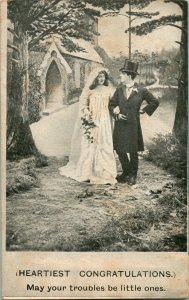 Postale 1900s Udb Marriage Heartiest Congratulations Votre Troubles Être Petit