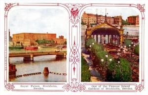 21239 STEREOVIEW postcard   Sweden  Royal Palace, Island Garden
