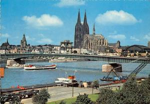 Koeln Domund Rhein Bruecke Bridge River Boats Cathedral