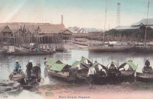 Native Sampan Singapore Boats Antique Old Postcard