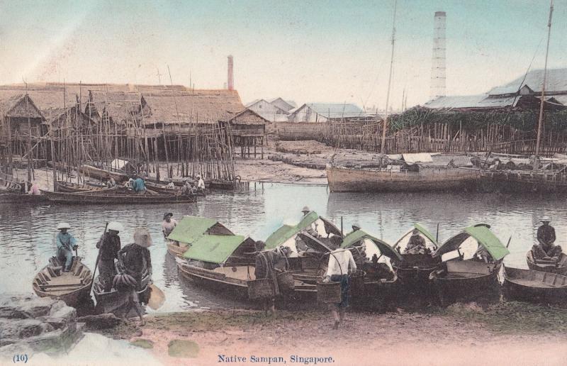 Native Sampan Singapore Boats Antique Old Postcard