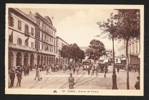 Avenue de France Tunis Tunisia unused c1920's