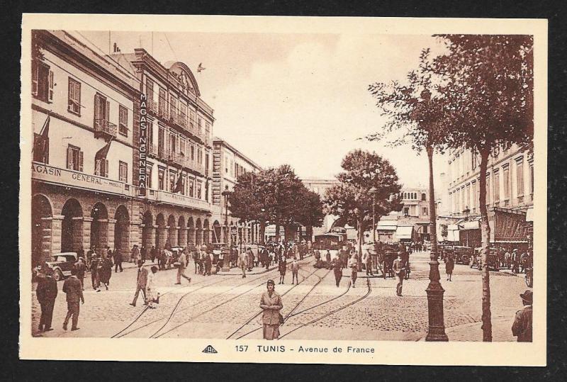 Avenue de France Tunis Tunisia unused c1920's