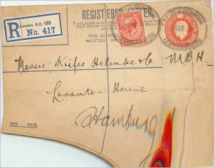 Entier Postal Stationery 2p + 1p London for Hamburg in 1921